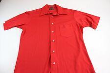 VINTAGE 1970's Van Heusen Bright Red Splendor Knit Short Sleeve Shirt Medium #16