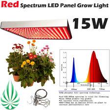 PURE RED SPECTRUM LED GROW LIGHT 15W HYDROPONICS ENERGY SAVING BLOOM GROW LAMP