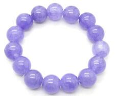 Natural  Lavender Jade Jadeite Round Beaded Bangle Bracelet Gemstone 7.5'' AAA