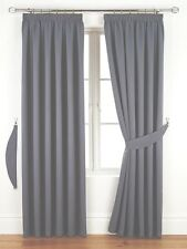 """66x90 Thermal Woven Blackout Curtains 3"""" Pencil Pleat Heading Grey"""