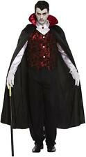 Adult Scary Mens Deluxe Vampire Costume Count Gothic Halloween Fancy Dress