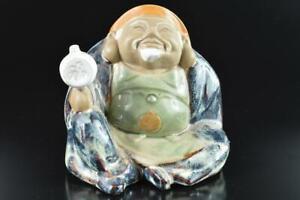 L2101: Japan Onda-ware Sea cucumber glaze DAIKOKU STATUE sculpture Ornament Doll