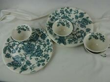 """Johnson Bros Green English Chippendale 10"""" Snack Plates w/ Tea Cups - Set of (4)"""