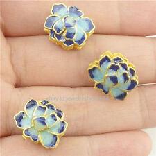 16264*2PCS Enamel Cloisonne 4Holes Lotus 14mm Spacer Beads Charm Copper