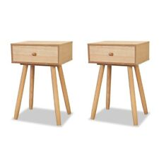 2 Bedside Tables Wooden Retro End Table Nightstands Bedroom Living Room Cabinets
