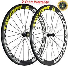 50mm Depth Carbon Wheelset U-Shape 25mm Superteam Road Wheels Clincher 3k Matte