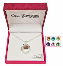 """Crystals Floating Charm Locket Necklace Silver Tone 18"""" New Made With Swarovski"""