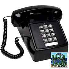 Single Line Desk Telephone Push Button Corded Home Phone Touchtone Black NEW