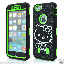Green Hello Kitty DEFENDER Armor Shockproof Hybrid 3 Piece Case for iPhone 6 4.7