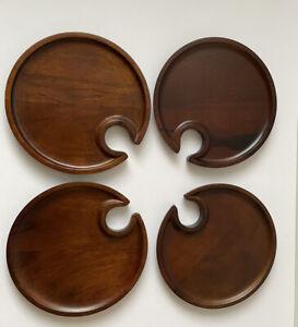 Set of 4 Pottery Barn Wood Mingling Plates Notched Wine Cutout Glass Holder