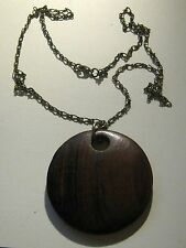 Necklace bronze tone metal with wonderful wooden pendant disc approx 72cm long