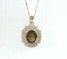 3.69 ct Genuine Smokey & White Topaz Solid 925 Sterling Silver Pendant & Chain