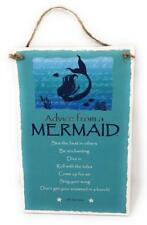 "Advice from a Mermaid Inspirational 5.5""x8.5"" Hanging Wood Plaque Sign for Wall"