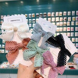 2Pcs/Pair Kids Lace Bows Hair Clips Handmade Hairpins Girls Hair Accessories