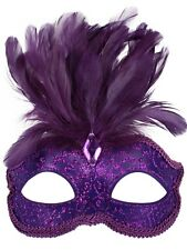 Purple Glitter Face Eye Mask with Feathers Fancy Dress Venetian Masquerade Ball