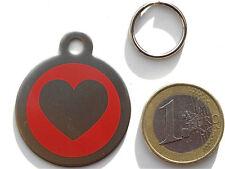 MEDAILLE gravée coeur rouge CHIEN collier harnais