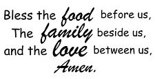Bless Food, Family Love quotes vinyl decal sticker for Living room Kitchen 22x10