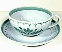 Arabia Finland Green Thistle Cup and Saucer Tea Coffee