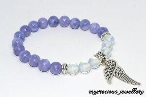 Natural Opalite Angelite Bracelet Gemstone Feather Stone Elasticated Gift Reiki