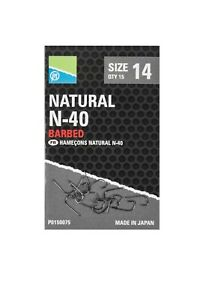 Preston Natural N40 Micro Barbed Hooks *5 Packs* (All Sizes) *New* Free Delivery