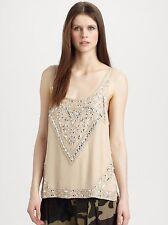 Haute Hippie Embellished  Silk  Tank  Top  Blouse $495.00   Size L