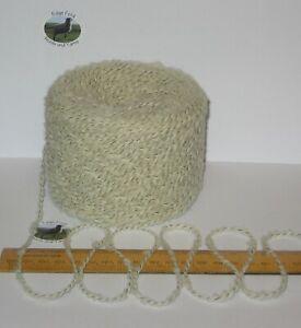 100g balls Ecru Cream Black wavy Boucle 90% British Wool double knitting yarn DK