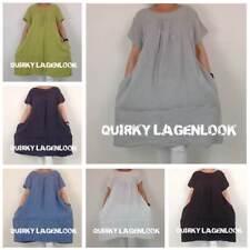 Linen Short Sleeve Plus Size Dresses for Women