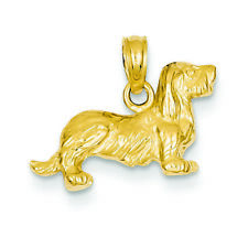 14K Yellow Gold Long-Haired Dachshund Dog Charm Pendant Msrp $266