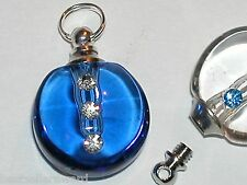 1pc blue Crystal Glass round small little Perfume potion rice bottle SCREW CAP