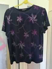 Anna Rose Sequin Flower Navy Purple Floral Top Size XL Charity Auction