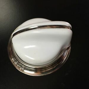 O'Keefe & Merritt Stove Parts - Set of 6 NEW Knob White w/chrome bezel ring