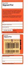 100 Royal Mail Firmate Per Etichette di consegna registrata. foglio di adesivi UFFICIO POSTALE