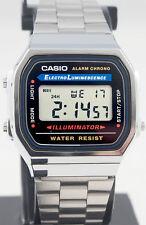 Casio Retro Digital Uhr A-168WA-1 Edelstahl Digital Herren Damen Uhr Neu