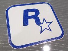 $ RARE ROCKSTAR GAMES WHITE LOGO GLITTER VINYL STICKER $ LEEDS ENGLAND STUDIO $
