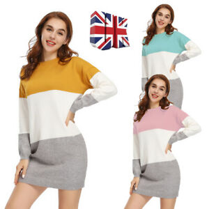 Ladies Womens Soft Crew Neck Chunky Long Sleeve Knitted Dress Top Jumper