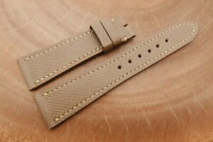 22mm/18mm Taupe Genuine EPSOM CALF Skin Leather Watch Strap Band
