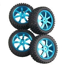 RC 2x Front & 2x Rear Aluminum Wheel Rubber Tires HSP 1:10 Off-Road Buggy S07B1