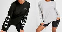 Fila Women Girls ROUND Neck Long Sleeve Relax fit T Shirt Top Tee 4 6 8 10 12 14