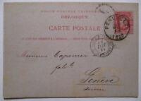 Belgien, Ganzsache 1880 von Peruwelz nach Genf