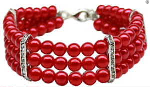 """Three Row Pearl Dog Necklace - Holiday Christmas Red  Mirage Pet 8-10"""" Neck Only"""