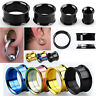 """Pair PVD Plated Steel Screw On Double Flared Saddle Ear Plugs Flesh Tunnel 8G-1"""""""