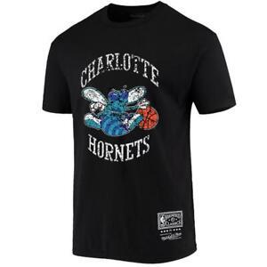Charlotte Hornets Mitchell & Ness NBA HWC Distressed Logo T-Shirt - Black