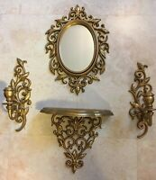 "Gold 12"" Mirror 2 Sconces 1 Shelf LEAVES VINES Homco Home Interiors PLASTIC Wall"