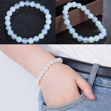 8mm Round Crystal Moonstone Natural Stone Stretched Beaded Bracelet for Women H&