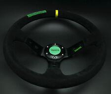 350mm Suede Leather Deep Dish Drifting Steering Wheel MOMO OMP Rally Black Takat