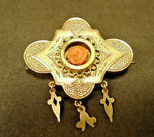 Antique Victorian Watch Locket Pin Gold Filled Carved Coral Rose 3 Charms