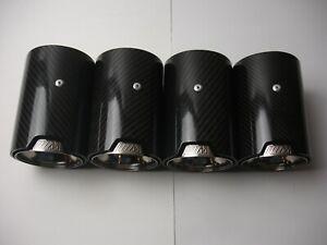 Fits BMW M1 M2 M3 M4 M5 M6 Carbon Fiber Exhaust tip's (4) Polished Black Finish