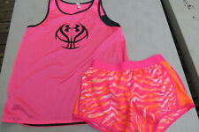Pink Under Armour girls tank top YLG,Justice pink/orange polyester shorts,14