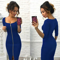 Sexy Women's Fashion Autumn Winter Zipper Dress Evening Party Casual Dresses