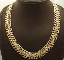 Technibond Braided Mesh Woven Chain Necklace 14K Yellow Gold Clad Silver